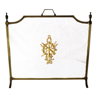 Vintage Brass Fireplace Screen With Crest