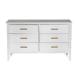White Faux-Bamboo Dresser