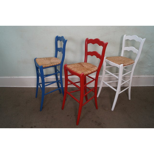 French Country Rush Seat Bar Stools - Set of 3 - Image 2 of 10