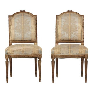 19th Century French Antique Side Chairs w/ Gilt Polychrome Surface - Set of 2