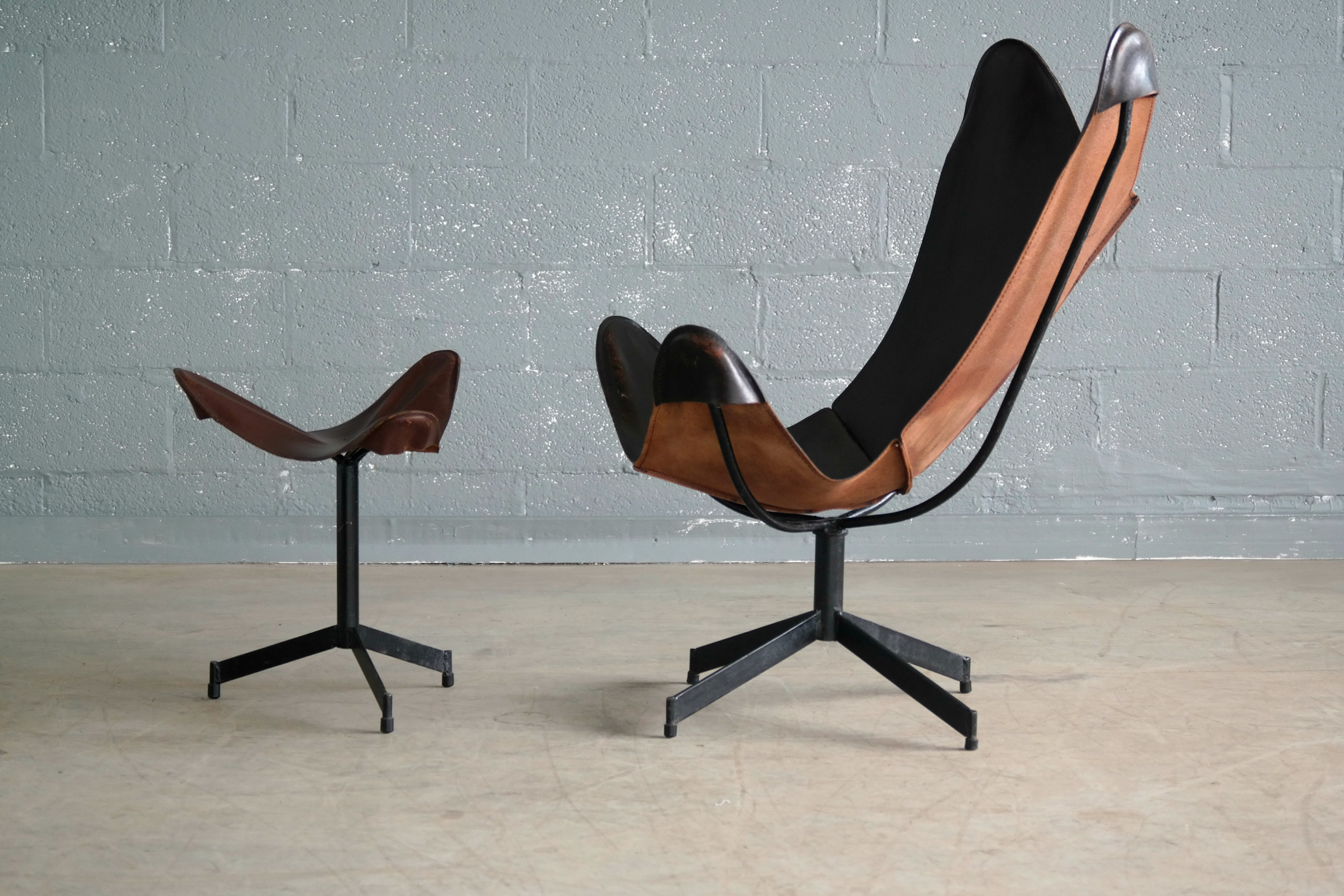william katavolos leather sling chair and ottoman for image 3 of 8