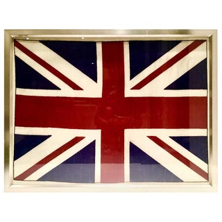 Vintage Silver Leaf Framed British Union Jack Flag Framed