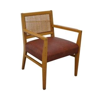 Mid Century Dunbar Style Cane Back Arm Chair
