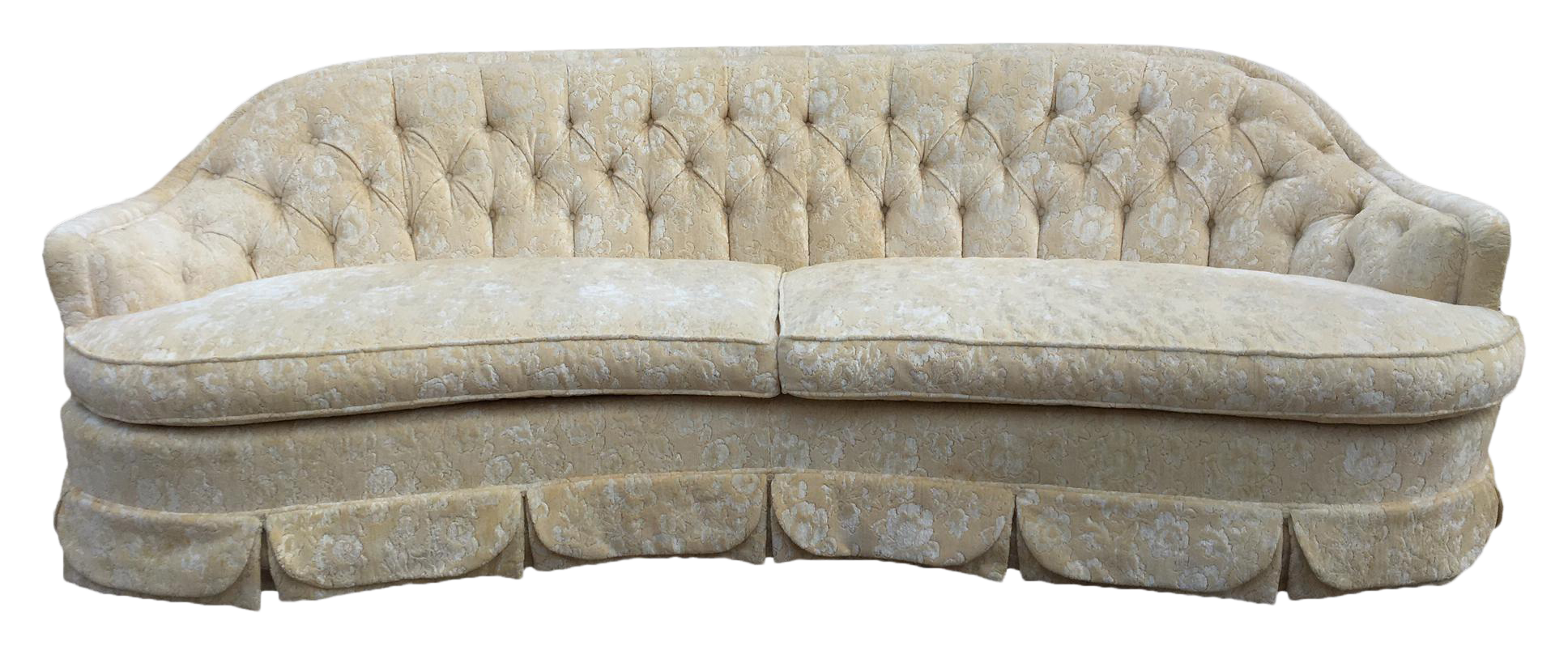 dorothy draper inspired regency curved tufted sofa chairish