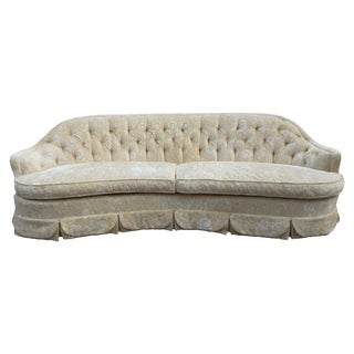 Dorothy Draper Inspired Hollywood Regency Curved Tufted Sofa