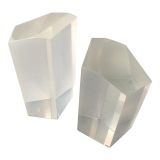 Lucite Bookends- A Pair