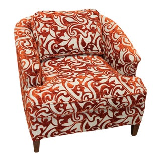 Retro Rust & White Swirl Upholstered Armchair