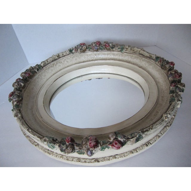 Oval Distressed Flower Mirror - Image 6 of 8