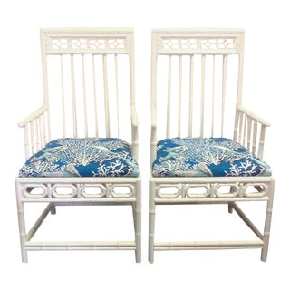 Chinese Chippendale Nautical White Chairs - A Pair
