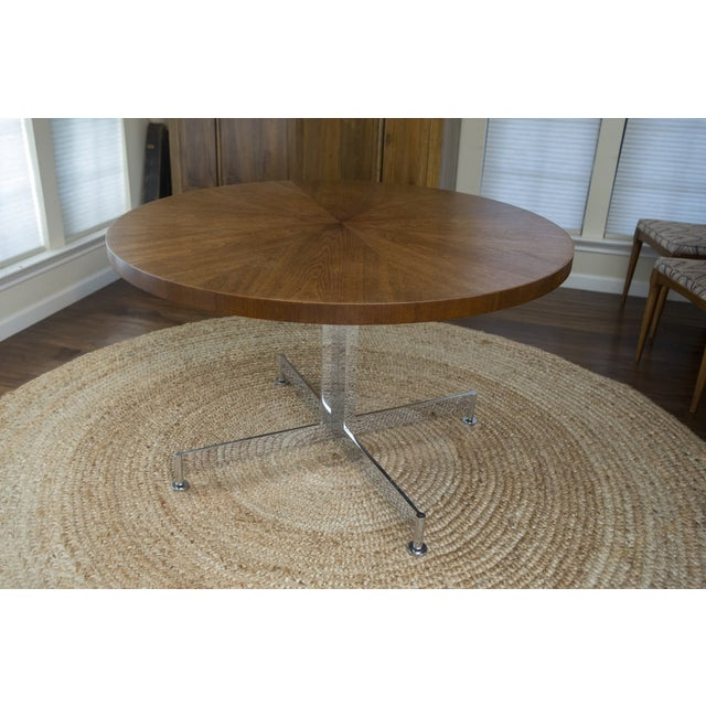 Image of Vintage MCM Chrome & Walnut Dining Table