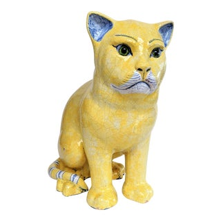 Emil Galle Style Terra Cotta Cat With Glass Eyes