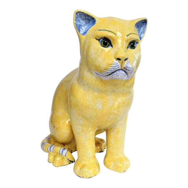 Emil Galle Style Terra Cotta Cat With Glass Eyes - Image 1 of 11