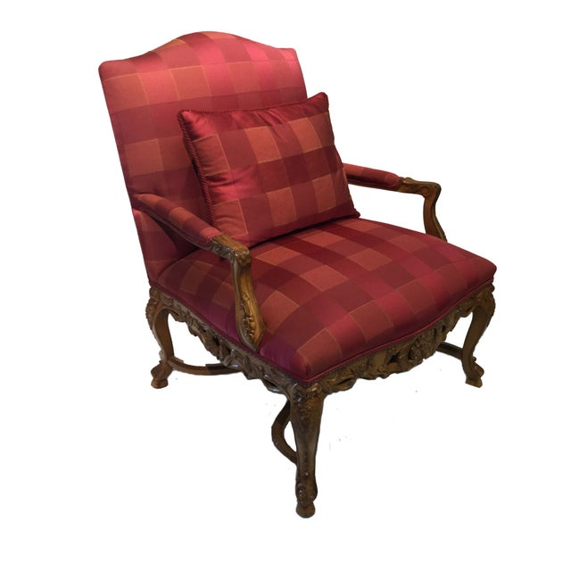 Image of Minton-Spidell French Louis XVI Red Armchair