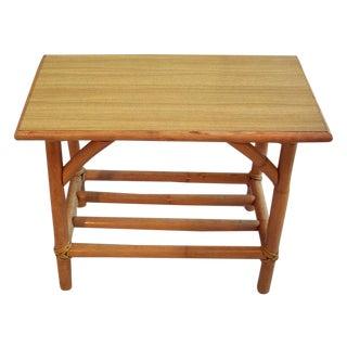 Rattan/Formica Tiki Modern Side Table