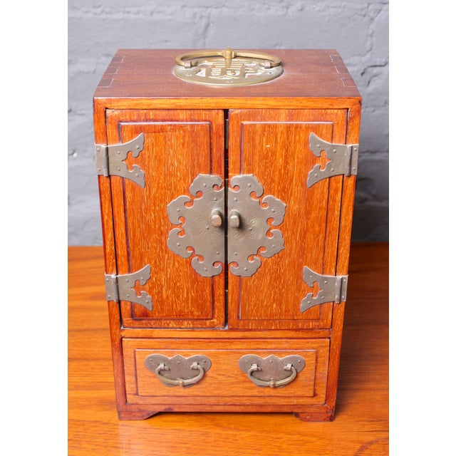Image of Vintage Asian-Inspired Wood and Brass Jewelry Box