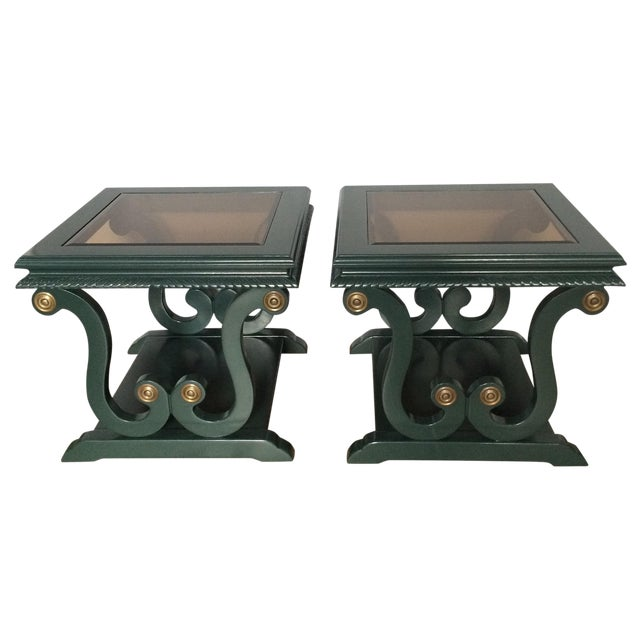 Harp-Shape Lacquer Side Tables - A Pair - Image 1 of 9