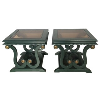 Harp-Shape Lacquer Side Tables - A Pair