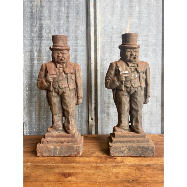 Antique Winston Churchill Cast Iron Andirons - A Pair - Image 5 of 10