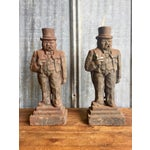 Image of Antique Winston Churchill Cast Iron Andirons - A Pair
