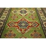 "Image of Medallion Green Kazak Geo-Floral Rug - 4'2"" x 6'2"""