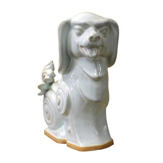 Asian Off White Ceramic Artistic Dog Figure