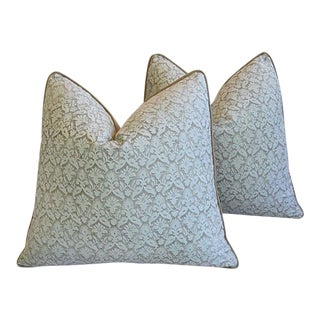 "22"" Custom Tailored Italian Fortuny Delfino Feather/Down Pillows - a Pair"