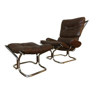 Ingmar Relling Westnofa Leather Chair & Ottoman