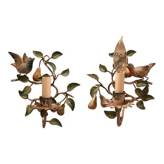 Metal Sconces With Birds - A Pair