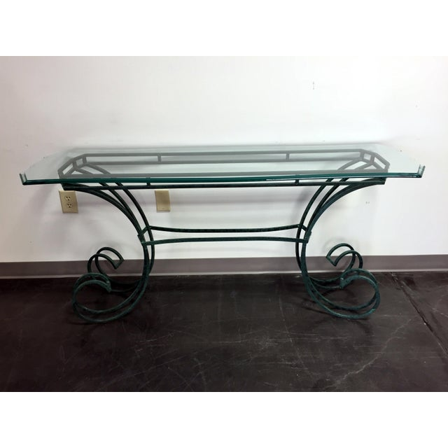 Amazon Coffee Table With Beveled Glass Top And Black Metal: Green Metal & Beveled Glass Console Table