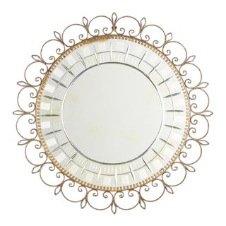 Mid-Century French Brass Round Mirror with Etched Glass