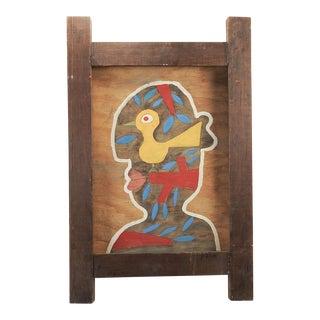 Folk Art Man & Bird Portrait Painting by Paco Felici