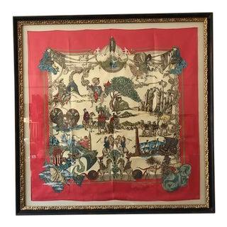Hermes French Silk Scarf Framed Art