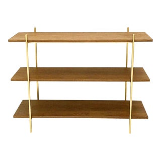 Walnut & Gold Low Book Shelf