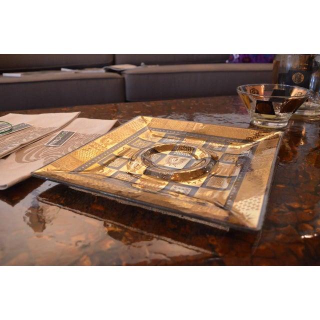 Vintage Georges Briard Golden Celeste Pattern Fused Glass Serving Tray - Image 3 of 5