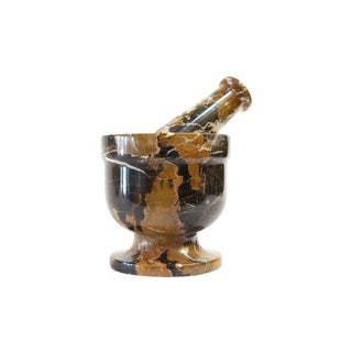 Marbled Stone Mortar & Pestle