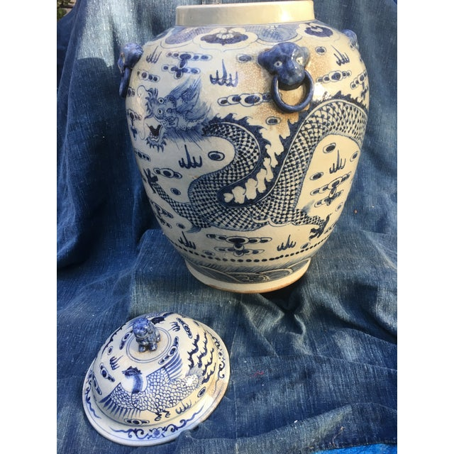 Chinese Dragon Urn W/ Foo Dog Handle Lid - Image 10 of 11
