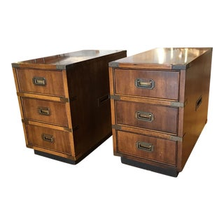 Brandt Petite Campaign Style Side Table Cabinets - a Pair