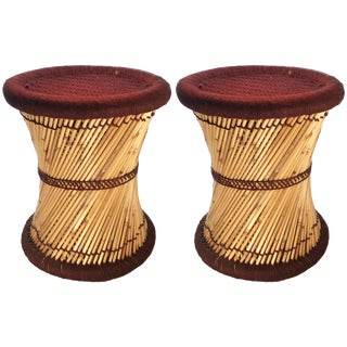 Natural Geo Moray Decorative Brown Accent Stools - A Pair