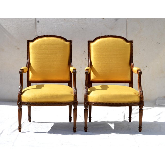 Louis XVI Fruitwood & Yellow Bergeres - A Pair - Image 4 of 10