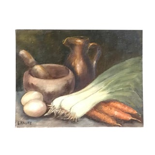 Vintage French Still Life of Carrots, Leeks, Mortar and Pestle Signed