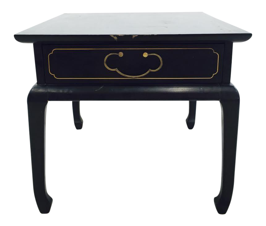 Vintage Ming Style Black U0026 Gold Painted Side Table