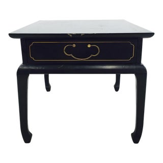 Vintage Ming Style Black & Gold Painted Side Table