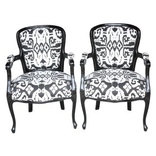 Transitional Black Lacquer Ikat Chairs - A Pair