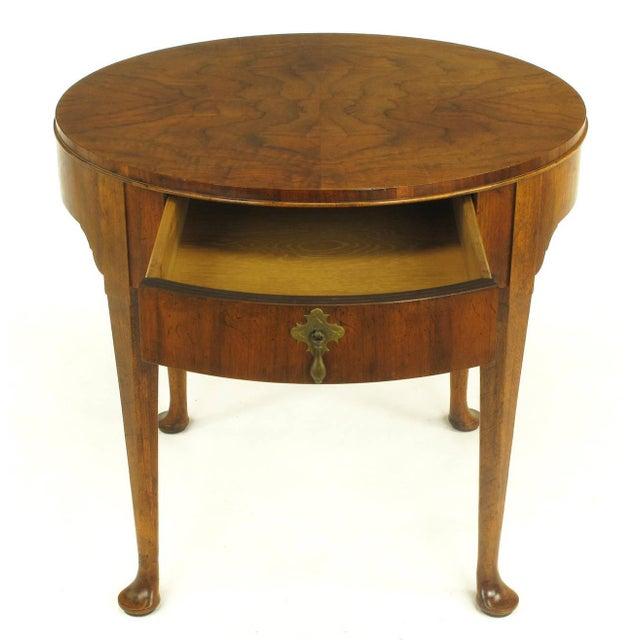 """Baker Furniture """"Milling Road"""" Figured Walnut Regency Side Table - Image 7 of 10"""