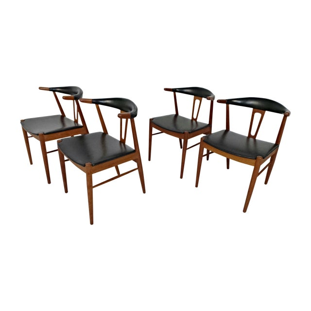 Hans Wegner Style Teak Leather Dining Chairs - 4 - Image 1 of 10