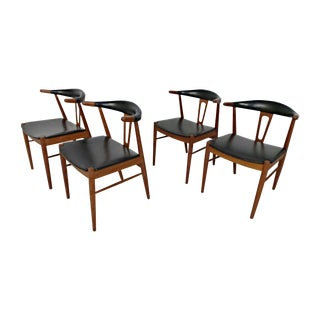 Hans Wegner Style Teak Leather Dining Chairs - 4