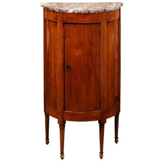 French Directoire Style Demilune Fruitwood Cabinet with Marble-Top, circa 1800