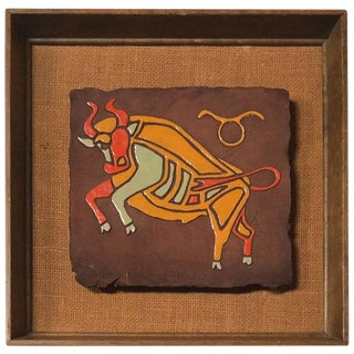 Taurus Astrological Sign Tile By Peggy Nagel California Pottery