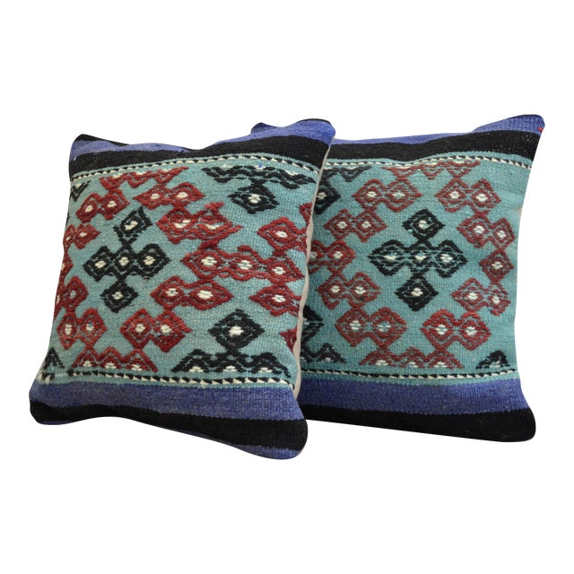 Hand-Woven Turkish Kilim Pillow Covers - A Pair - Image 1 of 7