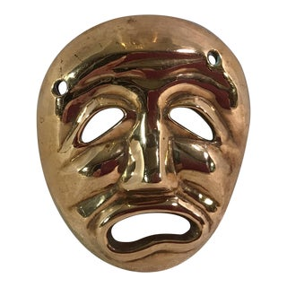 Mid-Century Modern Brass Tragedy Mask
